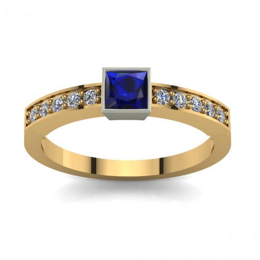 Złoty pierścionek zaręczynowy z szafirem i brylantami PZ-063