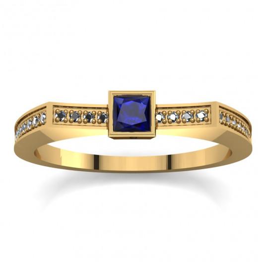Złoty pierścionek zaręczynowy z cyrkoniami PZ-061C