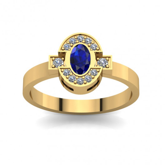 Złoty pierścionek zaręczynowy z szafirem i cyrkoniami PZ-062C