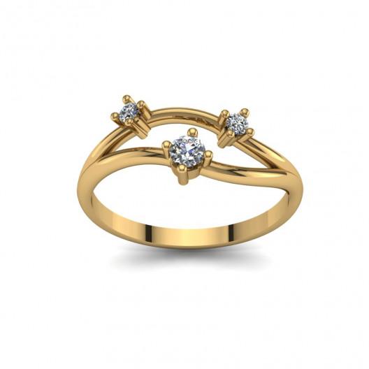 Złoty pierścionek zaręczynowy z brylantami 0,016ct PZ-095