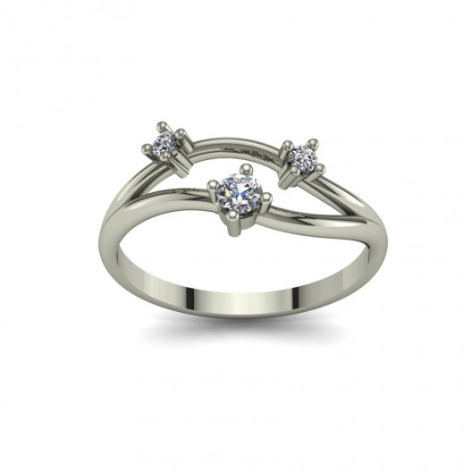 Złoty pierścionek zaręczynowy z brylantami 0,016ct PZB-095