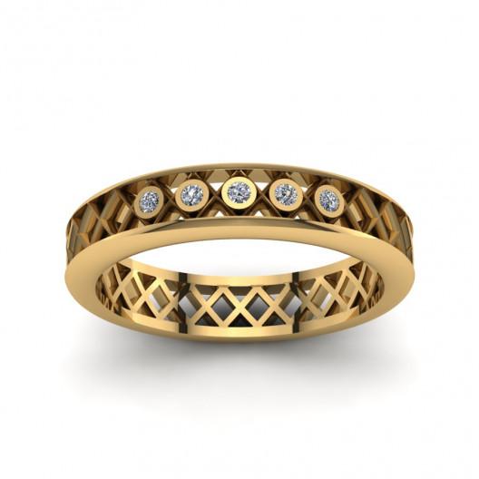 Złoty pierścionek zaręczynowy z brylantami o masie 0,025ct PZ-159