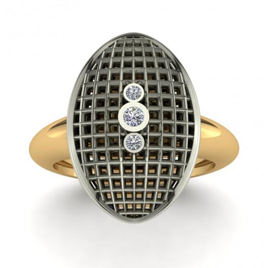 Złoty pierścionek zaręczynowy z brylantami o masie 0,06ct PZ-158