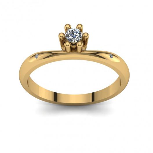 Złoty pierścionek zaręczynowy z brylantami 0,106ct PZ-106