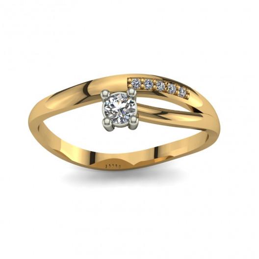 Złoty pierścionek zaręczynowy z brylantami 0,115ct PZ-099