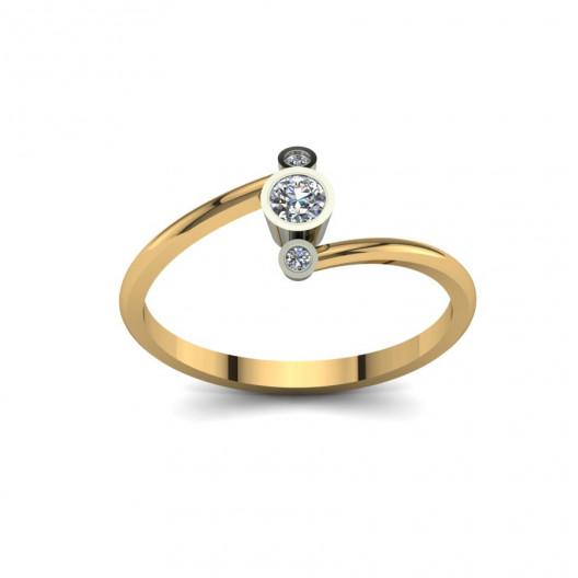 Złoty pierścionek zaręczynowy z brylantami 0,11ct PZ-094
