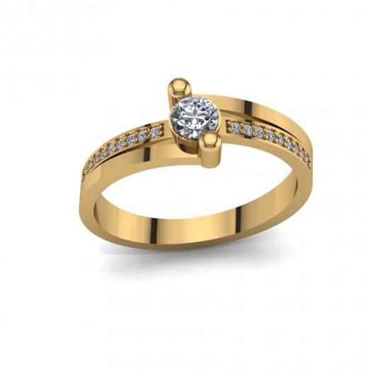 Złoty pierścionek zaręczynowy z brylantami 0,284ct PZ-096