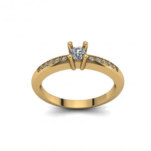 Złoty pierścionek zaręczynowy z brylantami 0,17ct PZ-091