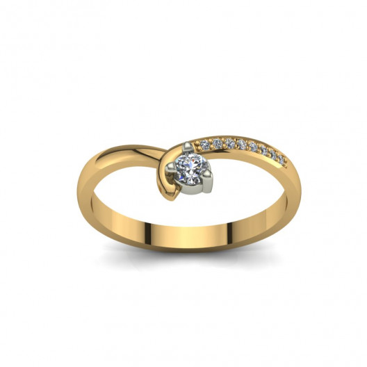 Złoty pierścionek zaręczynowy z brylantami 0,124ct PZ-093