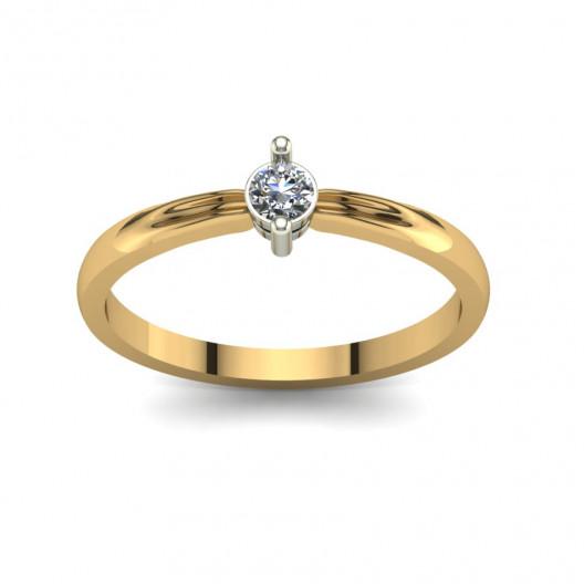 Złoty pierścionek zaręczynowy z brylantem 0,1ct PZ-108