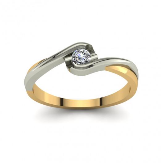 Złoty pierścionek zaręczynowy z brylantem 0,1ct PZ-144