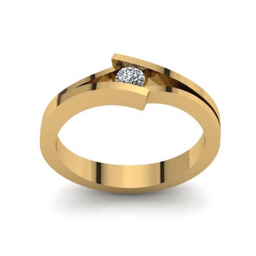 Złoty pierścionek zaręczynowy z brylantem 0,1ct PZ-176