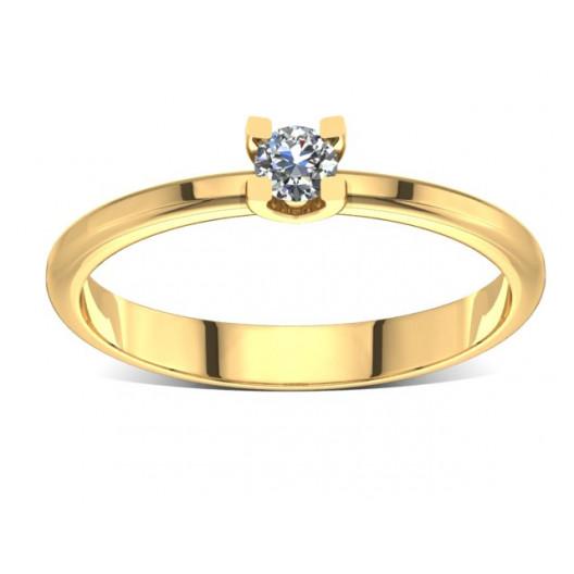 Złoty pierścionek zaręczynowy z brylantem 0,1ct PZ-003