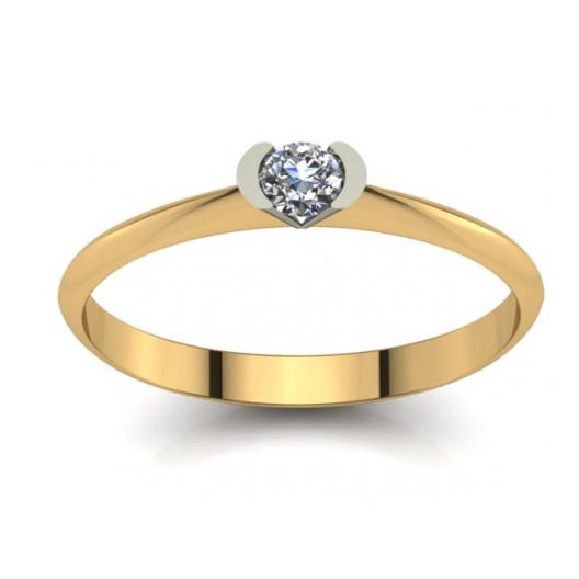 Złoty pierścionek zaręczynowy z brylantem 0,1ct PZ-005
