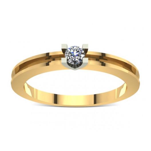 Złoty pierścionek zaręczynowy z brylantem 0,1ct PZ-009