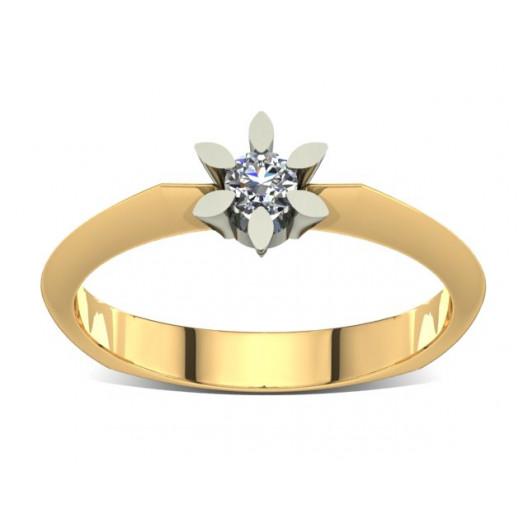 Złoty pierścionek zaręczynowy z brylantem 0,1ct PZ-019