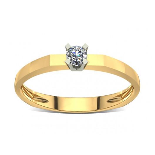 Złoty pierścionek zaręczynowy z brylantami 0,1ct PZ-021