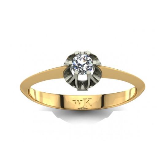 Złoty pierścionek zaręczynowy z brylantem 0,1ct PZ-027