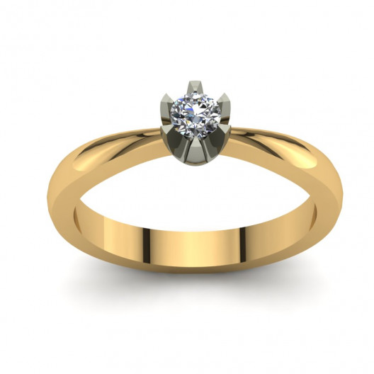 Złoty pierścionek zaręczynowy z brylantem 0,095ct PZ-131
