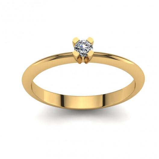 Złoty pierścionek zaręczynowy z brylantem 0,1ct PZ-134