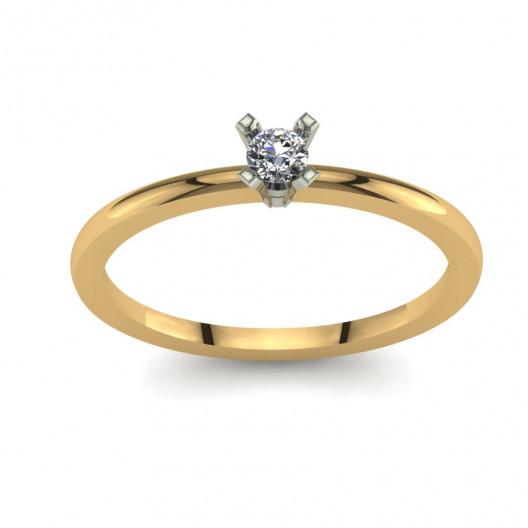Złoty pierścionek zaręczynowy z brylantem 0,1ct PZ-135