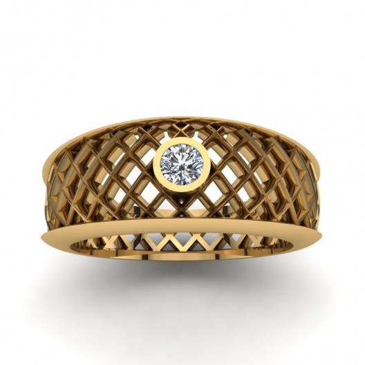 Złoty pierścionek zaręczynowy z brylantami o masie 0,1ct PZ-157
