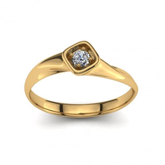 Złoty pierścionek z brylantem o masie 0,1ct PZ-199