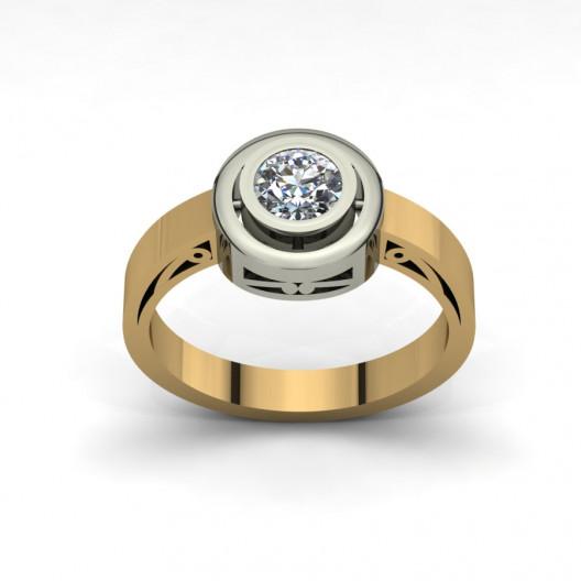 Złoty pierścionek zaręczynowy z cyrkonią PZ-085C