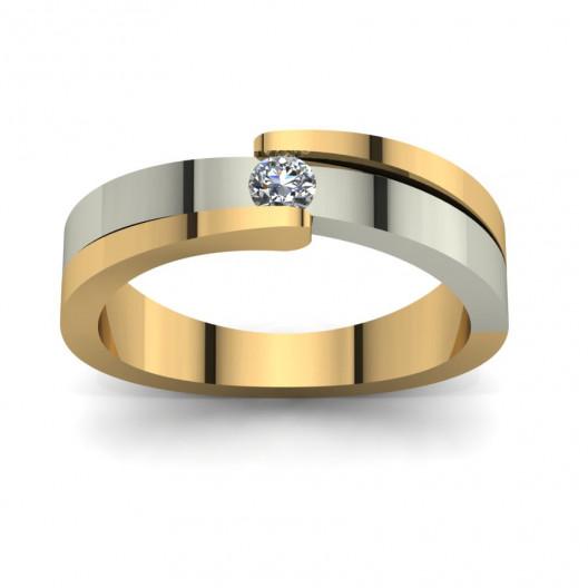 Złoty pierścionek zaręczynowy z cyrkonią PZ-101C