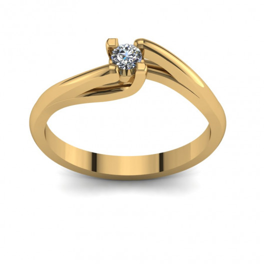 Złoty pierścionek zaręczynowy z cyrkonią PZ-103C