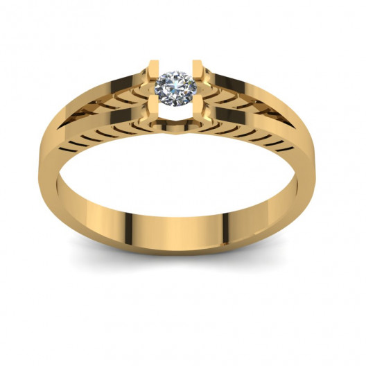 Złoty pierścionek zaręczynowy z cyrkonią PZ-104C
