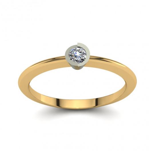 Złoty pierścionek zaręczynowy z cyrkonią PZ-128C