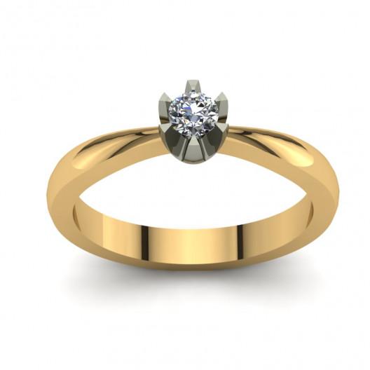 Złoty pierścionek zaręczynowy z cyrkonią PZ-131C