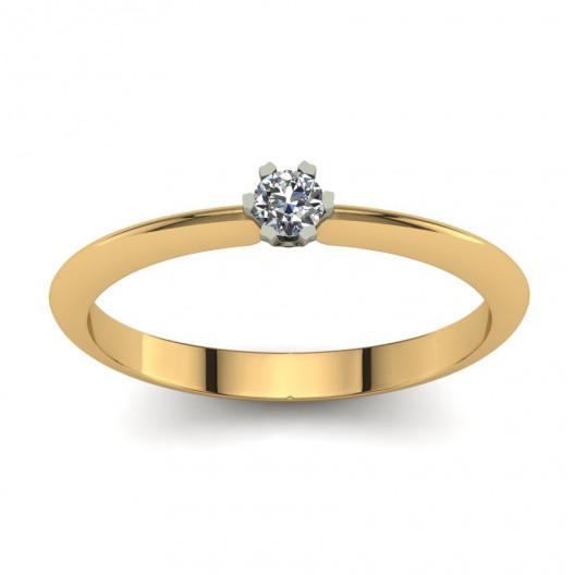 Złoty pierścionek zaręczynowy z cyrkonią PZ-198-3C