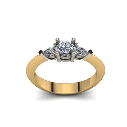 Złoty pierścionek zaręczynowy z cyrkoniami PZ-089C