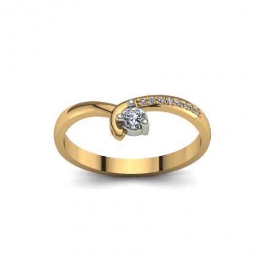 Złoty pierścionek zaręczynowy z cyrkoniami PZ-093C