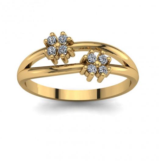 Złoty pierścionek zaręczynowy z cyrkoniami PZ-100C