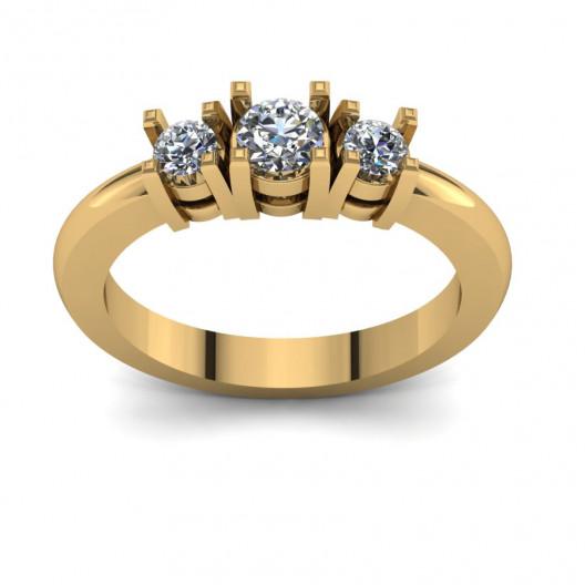 Złoty pierścionek zaręczynowy z cyrkoniami PZ-105C