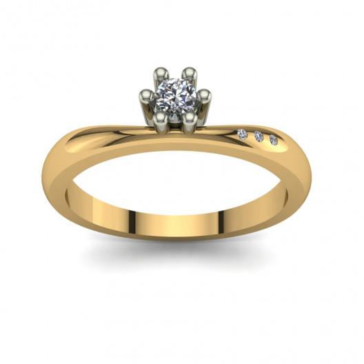 Złoty pierścionek zaręczynowy z cyrkoniami PZ-107C