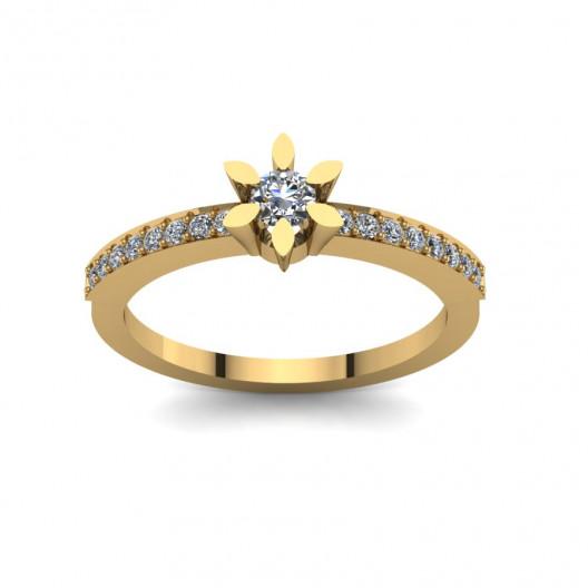 Złoty pierścionek zaręczynowy z cyrkoniami PZ-109C
