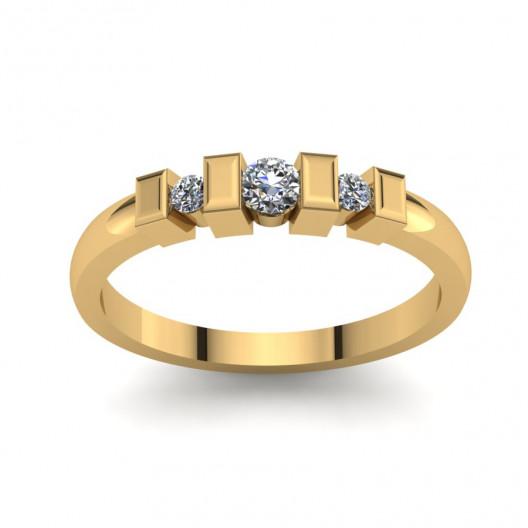 Złoty pierścionek zaręczynowy z cyrkoniami PZ-130C