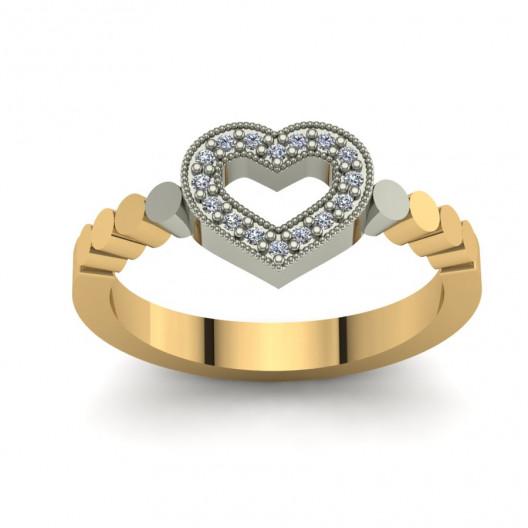 Złoty pierścionek zaręczynowy z cyrkoniami PZ-137C