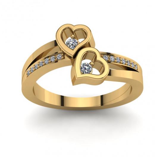 Złoty pierścionek zaręczynowy z cyrkoniami PZ-139C