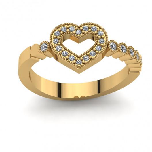 Złoty pierścionek zaręczynowy z cyrkoniami PZ-140C