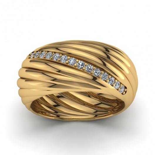 Złoty pierścionek zaręczynowy z cyrkoniami PZ-142C