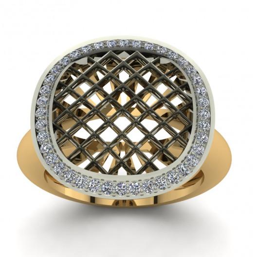 Złoty pierścionek zaręczynowy z cyrkoniami PZ-155C