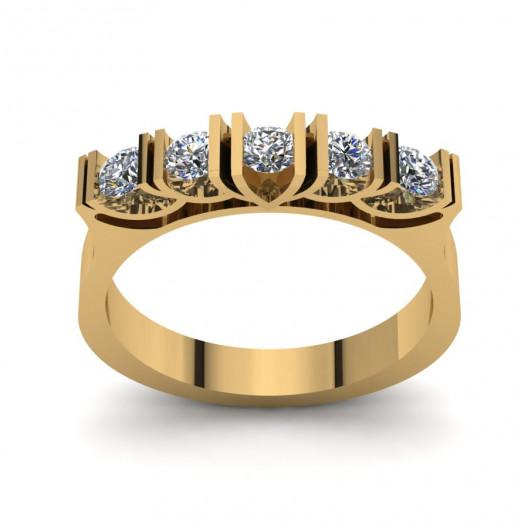 Złoty pierścionek zaręczynowy z cyrkoniami PZ-179C