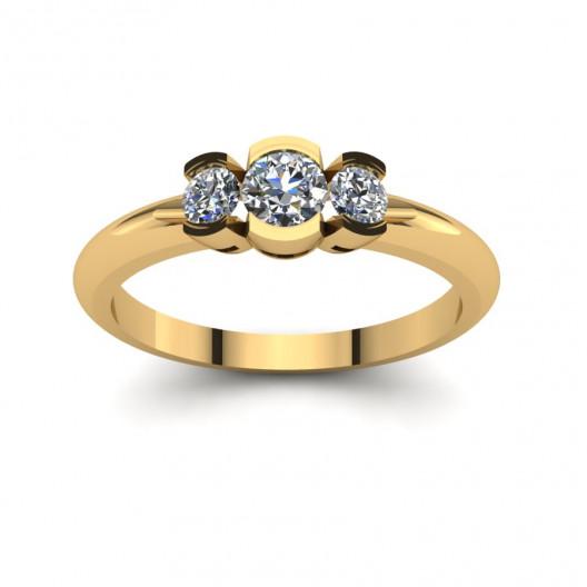 Złoty pierścionek zaręczynowy z cyrkoniami PZ-180C