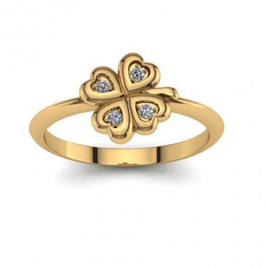 Złoty pierścionek  z cyrkoniami PZ-183C