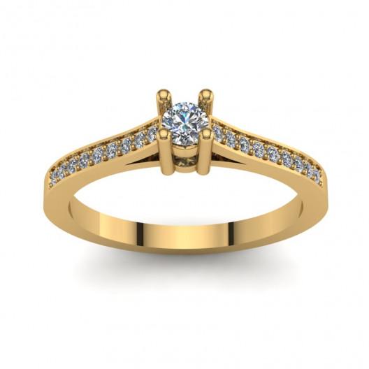 Złoty pierścionek zaręczynowy z cyrkoniami PZ-193C